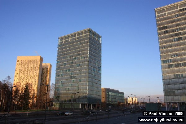 The 'Gate to Europe' (Porte de l'Europe) towers; further away, the European Court of Justice towers.