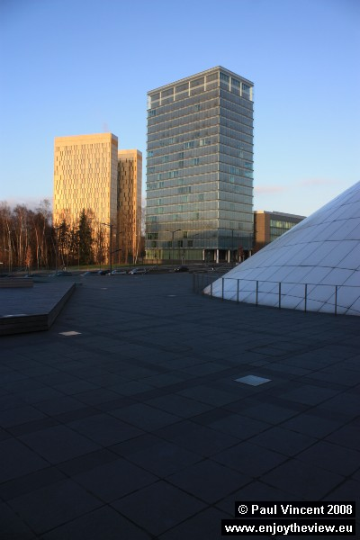 The European Court of Justice towers sparkle in the afternoon sun on a cold winter day.