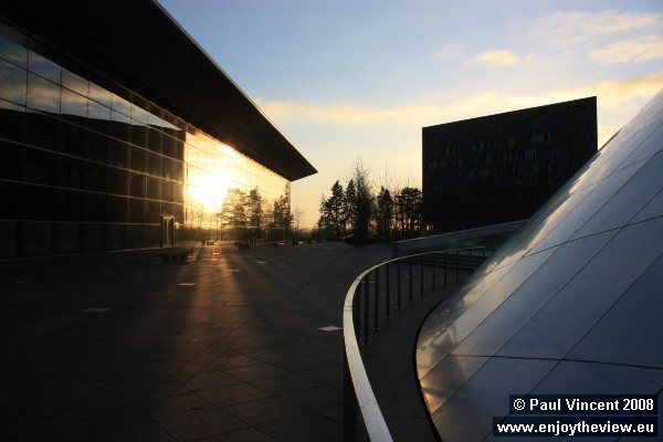 Sunlight reflecting off the Luxemburg Congress Centre, on the Place de l'Europe.