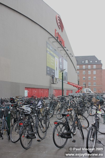 Bike is a popular choice for Copenhagen commuters, as the racks at this venue testify.