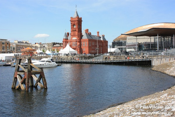 The Pierhead Building (centre) and the Senedd (right), both part of the Welsh Assembly site.