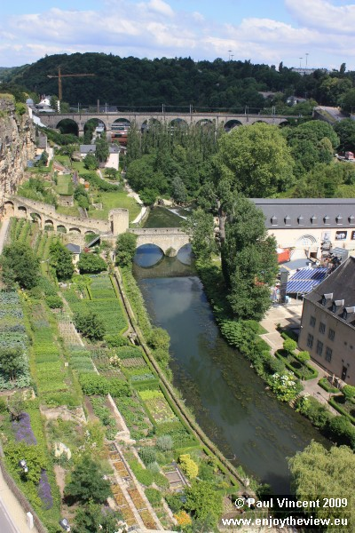 The Alzette river, and the railway viaduct in the distance.