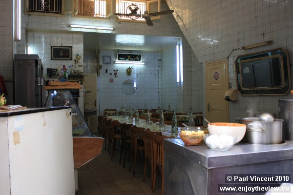 A typical Tunisian restaurant, ready for the lunchtime crowds.
