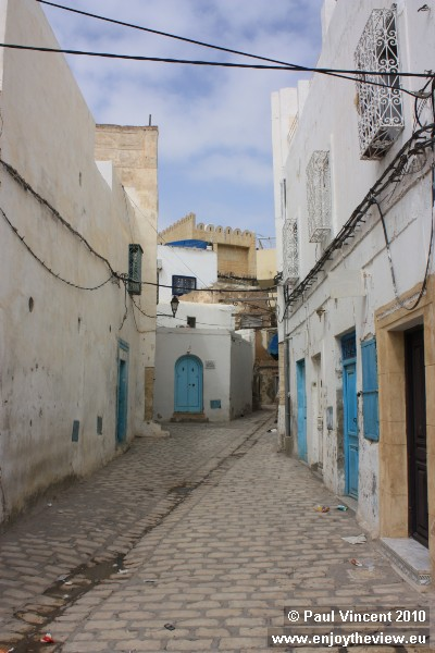 Cobbled street within the confines of Sousse medina.