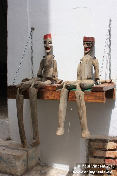 Wooden figures for sale in the medina.