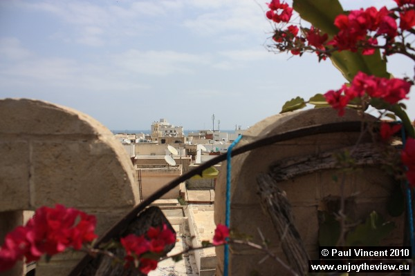 A view over Sousse medina, looking out towards the ocean.