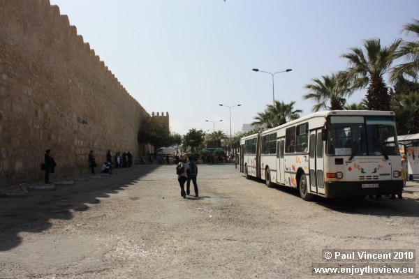 A bus parked outside the Sousse medina.