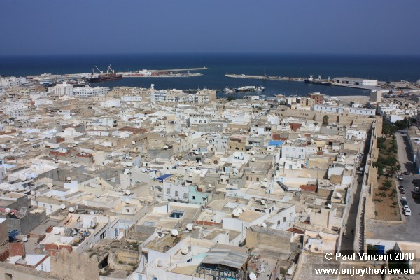 Sousse medina and port, viewed from the Khalif Tower on the edge of the medina.
