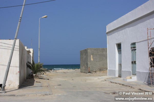 A view of the Mediterranean at the end of this street.