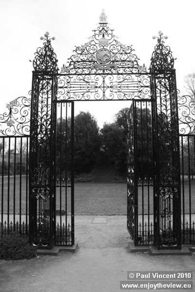Gate leading to the mound on the main green of New College.