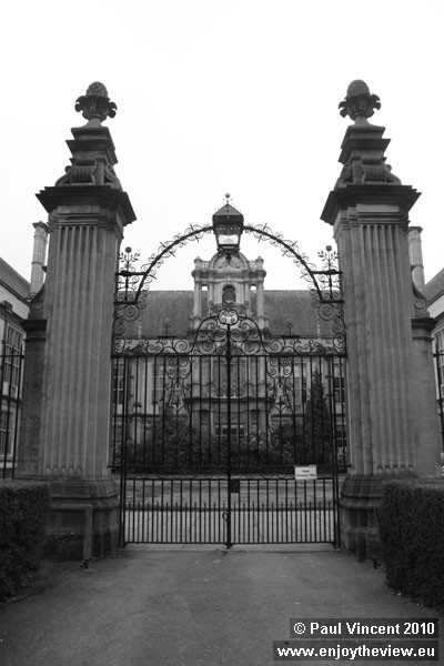 Gates from the deer park to the college.