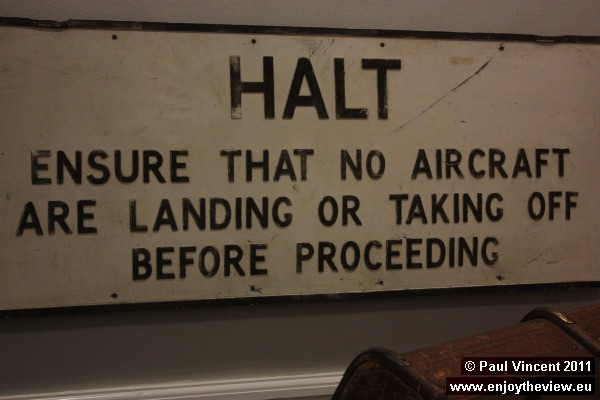 This road sign was located on Plough Lane, which used to intersect the runway.