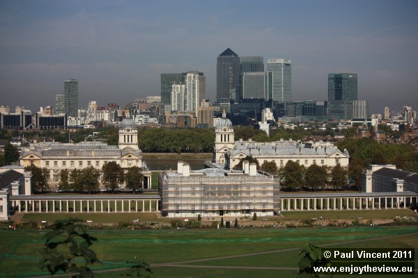 The Old Royal Naval College of Greenwich, and the City of London behind.