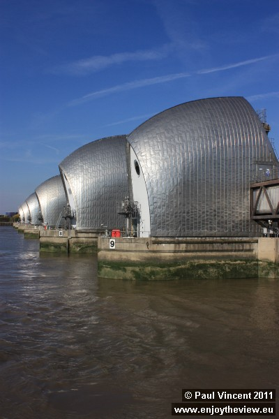 The Thames Barrier viewed from the south bank of the river.