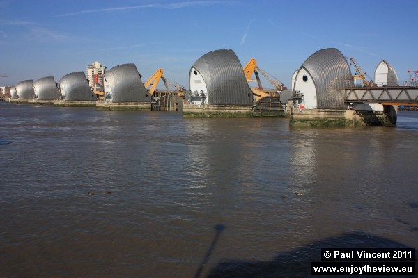 The Thames Barrier is located to the east of Greenwich.