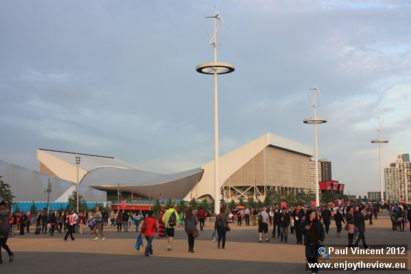 The white wings will be removed from this building after the Games, leaving just the silver shape.