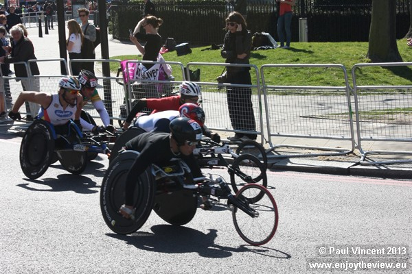 Kurt Fearnley, on the far left of this picture, went on to win the wheelchair marathon.