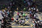 Marathon runners from above