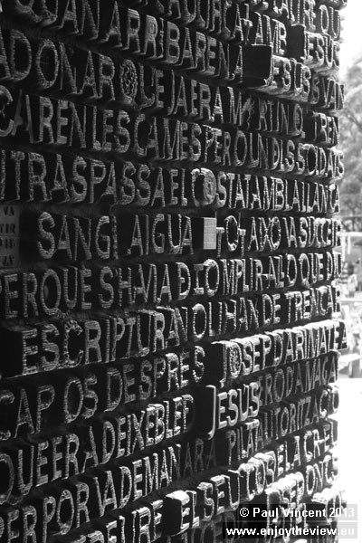 The great doors of the Passion façade reproduce words from the Bible in various languages.