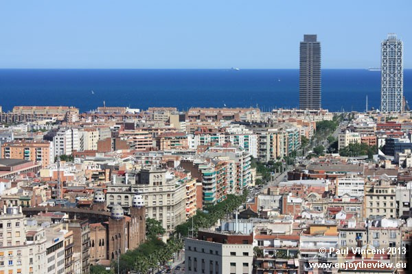 View to the southeast, encompassing the Torre Mapfre and Hotel Arts towers.