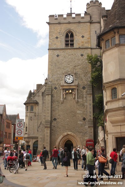 At the centre of the Oxford, this tower is all that remains of the 12th century St Martin's Church.