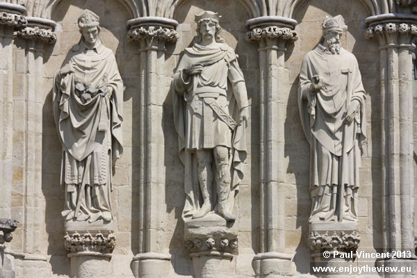 St Alphege, St Edmund the Martyr and St Thomas of Canterbury, 3 of 79 figures on the West Front.