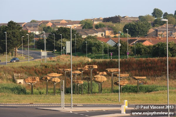 Roadside sculpture by Richard Harris to mark the 2012 Olympic events taking place in Weymouth.