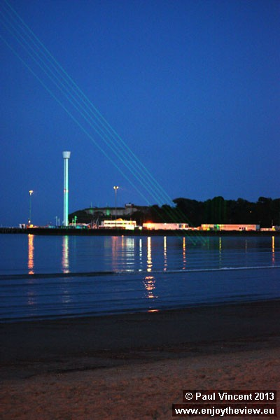 In 2012, lasers were installed to replace the traditional strings of light along the seafront.