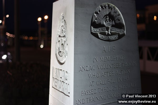 This memorial commemorates the Australians and New Zealanders accommodated in Weymouth during WWI.