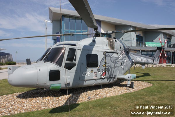 This helicopter was part of the Royal Navy Black Cats Display Team.