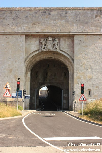 The grand entrance to the Verne Prison.
