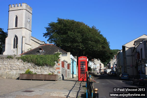 Small square and church in the village of Fortuneswell, the largest village on Portland.