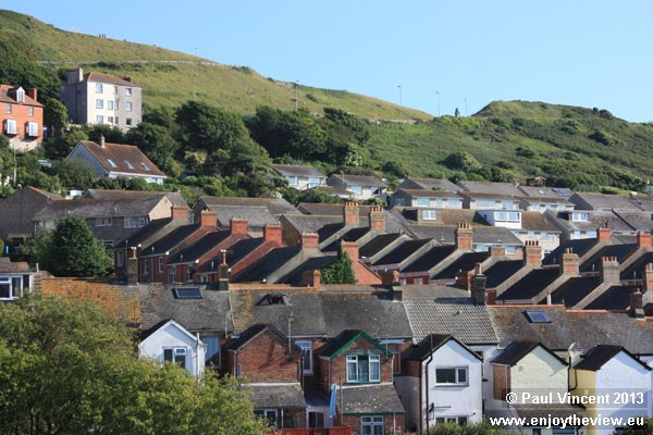 Picturesque rows of terraces houses on the Isle of Portland.