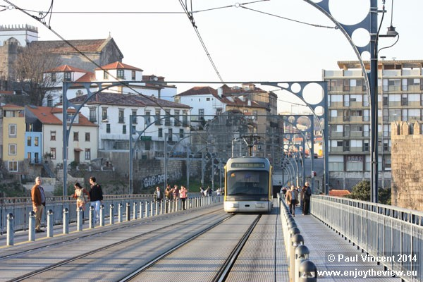 This metro line opened in 2005. The upper deck of the bridge was previously used by motor vehicles.