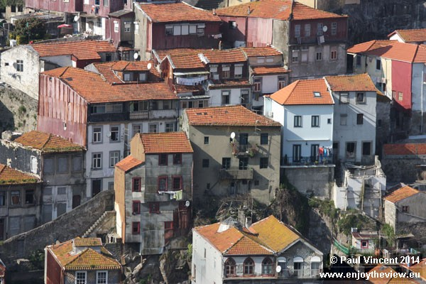 Dense housing on the northern bank of the Douro River.