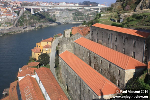 Staggered buildings on the northern bank of the Douro River.