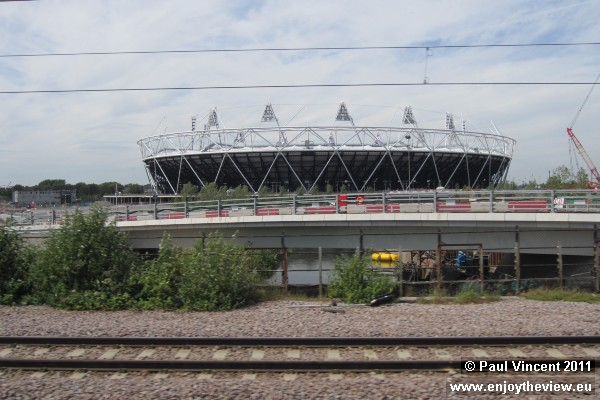 View of the stadium from our train out of Liverpool Street.
