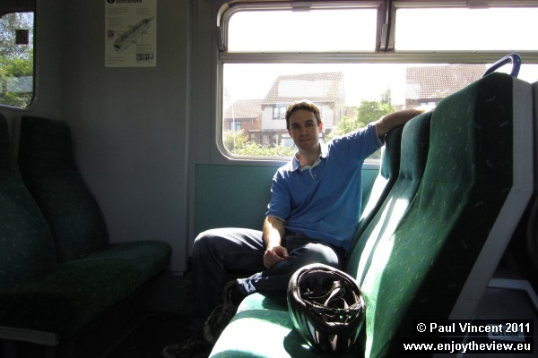 Paul on the train from Manningtree.