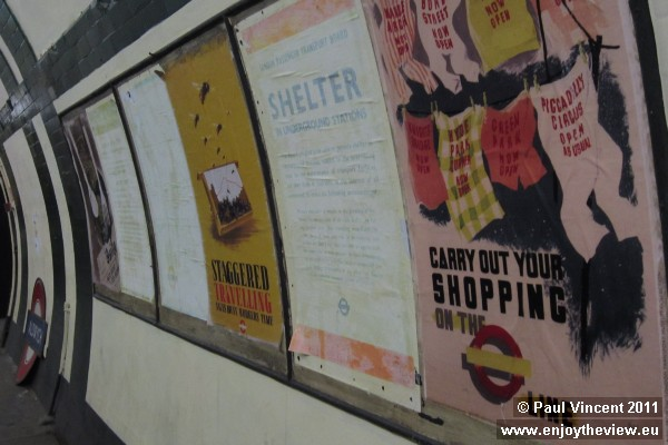 A selection of vintage posters on display at Aldwych station.