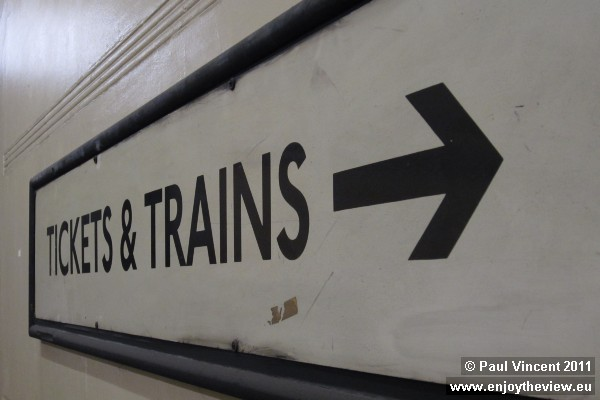This sign points towards the lifts. Train tickets were sold by the operator during the descent.