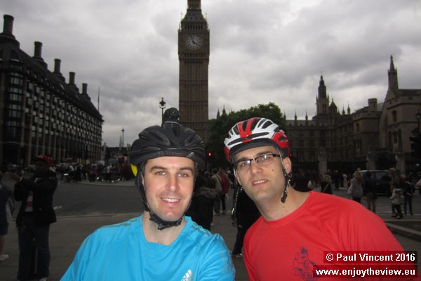 Under five minutes until we head off from Parliament Square, aiming to reach Paris in 24 hours.