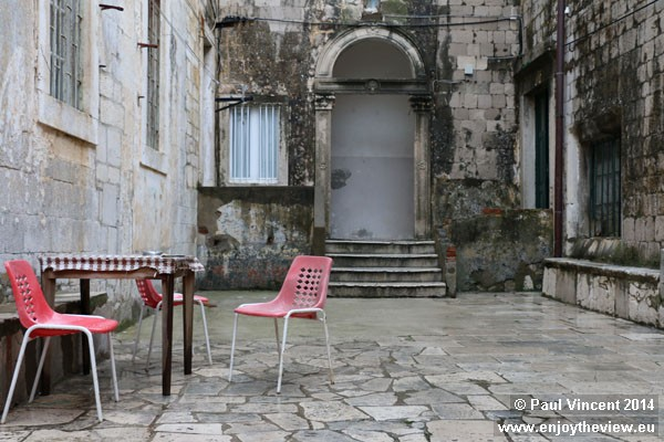 This small courtyard serves as a living room for locals.