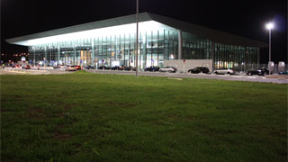 Luxembourg airport terminal at night